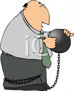Royalty Free Clipart Image of a Man attached to a Ball and Chain