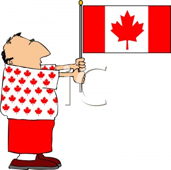 Royalty Free Clipart Image of a Man Holding a Canadian Flag