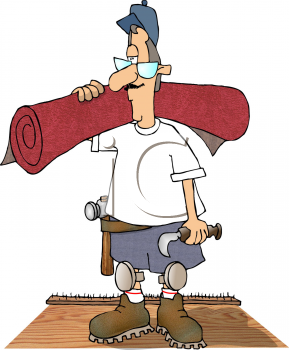 Royalty Free Clipart Image of a Man Installing Carpet