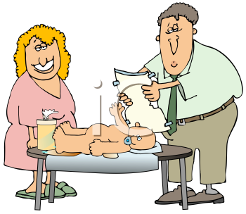 Royalty Free Clipart Image of a Couple Changing a Babies Diaper