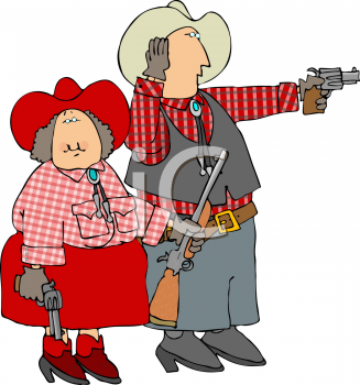 Royalty Free Clipart Image of a Cowboy Couple