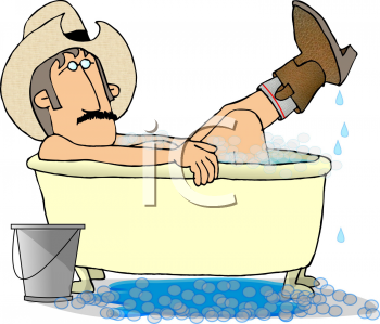 Royalty Free Clipart Image of a Cowboy Taking a Bath