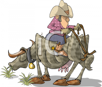 Royalty Free Clipart Image of a Cowboy Riding a Cow Backwards