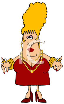 Royalty Free Clipart Image of a Woman Wearing Jewelery