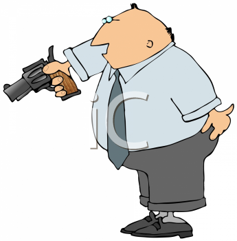 Royalty Free Clipart Image of a Man Holding a Gun