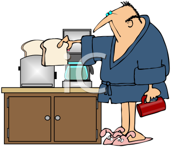 Royalty Free Clipart Image of a Man Making Toast