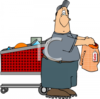 Royalty Free Clipart Image of a Man Shopping for Clothes