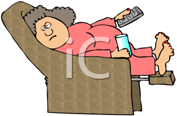 Royalty Free Clipart Image of a Woman in an Easy Chair