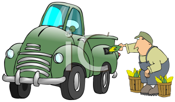 Royalty Free Clipart Image of a Man Putting Corn in a Truck