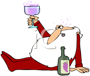 Royalty Free Clipart Image of a Drunk Santa With Wine