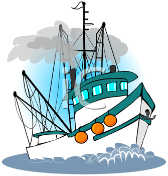 Royalty Free Clipart Image of a Trawler