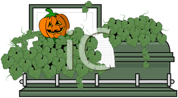 Royalty Free Clipart Image of a Pumpkin in a Coffin