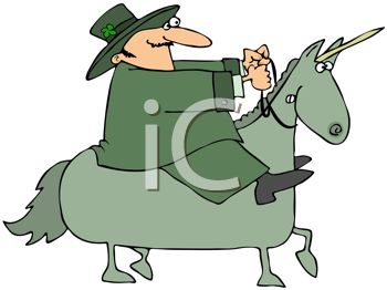 Royalty Free Clipart Image of a Leprechaun on a Unicorn