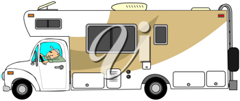 Royalty Free Clipart Image of a Man Driving a Motorhome