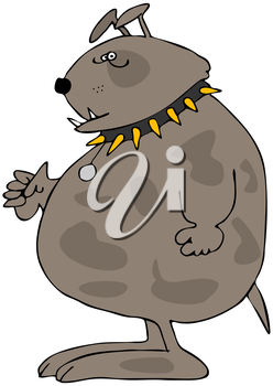 Royalty Free Clipart Image of a Dog With a Spiked Collar