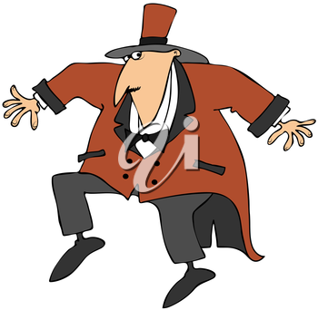 Royalty Free Clipart Image of a Sneaking Ringmaster