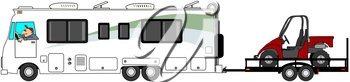 Royalty Free Clipart Image of a Motorhome Towing a Dune Buggy