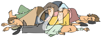 Royalty Free Clipart Image of a Pile of People