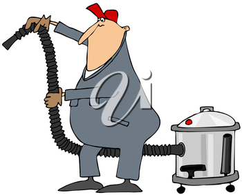 Royalty Free Clipart Image of a Man Using a Power Vac