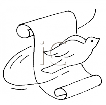 Royalty Free Clipart Image of a Dove and a Scroll