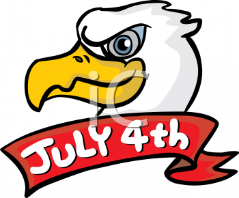 Royalty Free Clipart Image of a 4th of July Eagle Banner