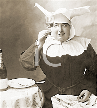 Royalty Free Photo of a Nun Holding a Glass of Champagne