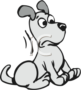Royalty Free Clipart Image of a Surprised Dog