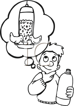 Royalty Free Clipart Image of a Boy Thinking of Creating a Bird Feeder