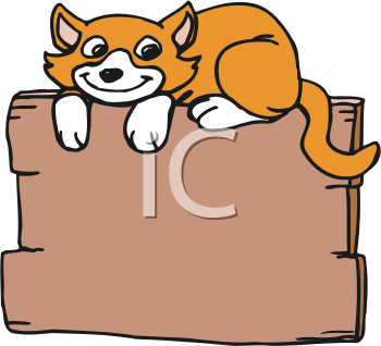 Royalty Free Clipart Image of a Cat Sitting on a Fence