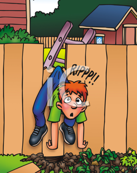 Royalty Free Clipart Image of a Boy Caught on a Fence