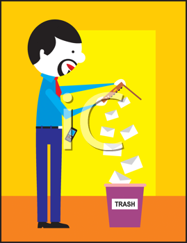 Royalty Free Clipart Image of a Man Dumping Mail in the Trash