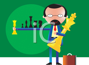 Royalty Free Clipart Image of a Man Holding Chess Pieces