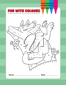 Royalty Free Clipart Image of a Colouring Page of a Wolf on a Blanket Watched by Birds