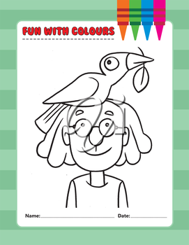 Royalty Free Clipart Image of a Girl in Glasses With a Bird on Her Head Colouring Page