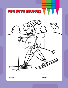 Royalty Free Clipart Image of a Colouring Page of a Cross-Country Skier