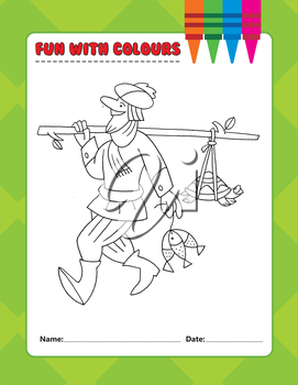 Royalty Free Clipart Image of a Colouring Page of a Man With Fish and a Turtle