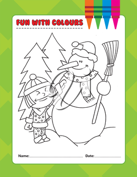 Royalty Free Clipart Image of a Colouring Page of a Little Girl and Snowman