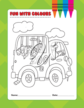 Royalty Free Clipart Image of a Colouring Page of a Tiger in a Caged Van