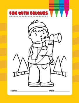 Royalty Free Clipart Image of a Boy Blowing a Horn Outside