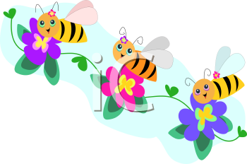 Royalty Free Clipart Image of Bees on Flowers