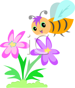 Royalty Free Clipart Image of a Bee Smelling Flowers