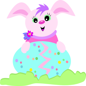 Royalty Free Clipart Image of a Bunny with an Easter Egg