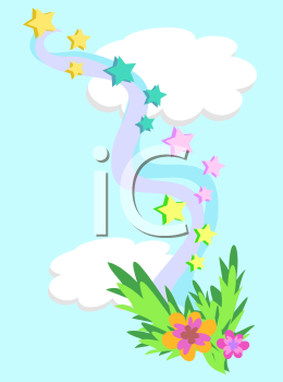 Royalty Free Clipart Image of Clouds With Stars and Flowers