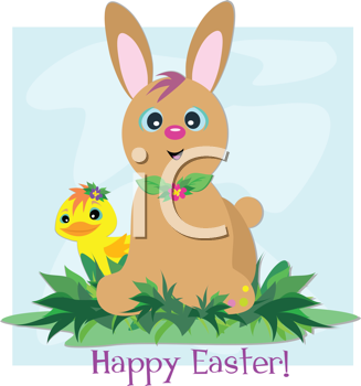 Royalty Free Clipart Image of a Happy Easter Greeting With a Rabbit and a Duckling