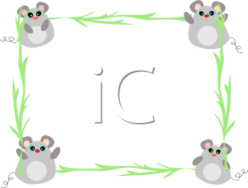 Royalty Free Clipart Image of a Mouse and Vine Frame