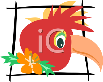 Royalty Free Clipart Image of a Framed Parrot's Head