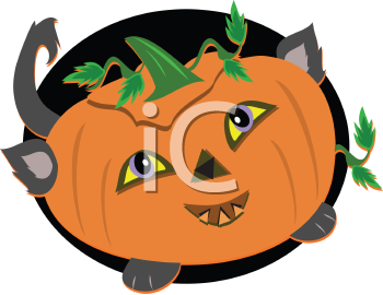 Royalty Free Clipart Image of a Halloween Pumpkin Cat