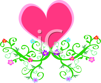 Royalty Free Clipart Image of a Heart and Vines