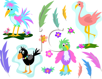 Royalty Free Clipart Image of a Bird and Feather Collection