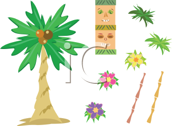 Royalty Free Clipart Image of a Mix of Tropical Pictures